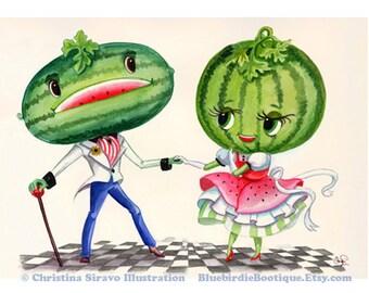 Melon d'eau Couple jet d'encre Fine Art Print 8.5x11