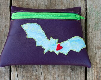 Bat Totem Purple vinyl pouch