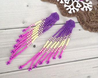 Long fringe earrings Violet Ivori Lilac jewelry Beadwork earrings Hippie boho earrings Elegant earrings Boho ethnic earrings
