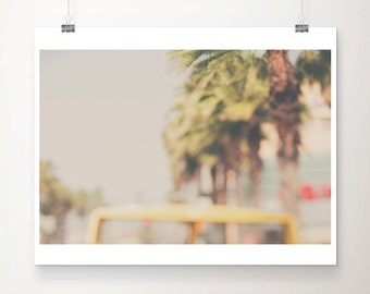 los angeles photograph california wall art travel photograph yellow bus photograph palm tree photograph LA photograph hipster style
