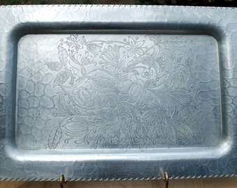 """1950''s """"Designed Aluminum"""" square shaped serving tray.  14.5"""" by 9.5"""""""