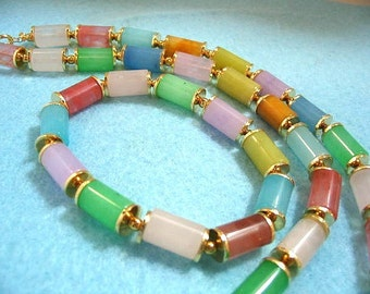 Colorful Tube Stone Bead Bracelet and Necklace Set, Multi Color Handmade Bead Jewelry, Yellow Gold Findings