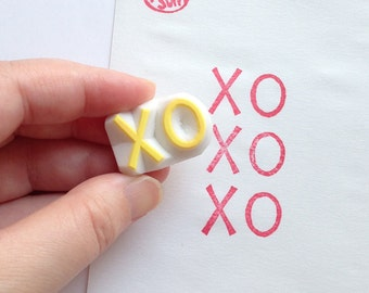 XO rubber stamp | kiss and hug stamp | snail mail stamp | card making | diy birthday wedding | gift for her | hand carved by talktothesun