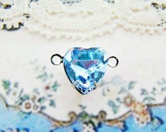 Vintage Swarovski Crystal Light Sapphire Heart Rhinestone Connector Silver Plated 2 Ring Link Settings - Pair