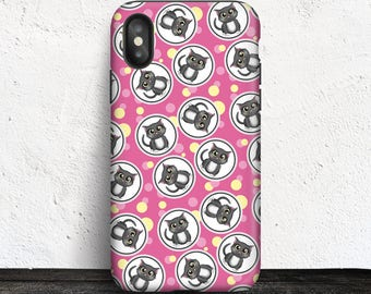 Pink Cat iPhone X Tough Case - Fuchsia Pink and Yellow Cat Pattern design - Made to order