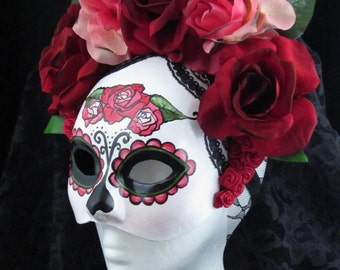 Little Catrina Mask, Day of the Dead Mask with attached headdress, burnt silk roses, and trailing lace