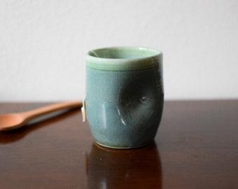Tumbler, pottery tumbler, dented cup, handless mug