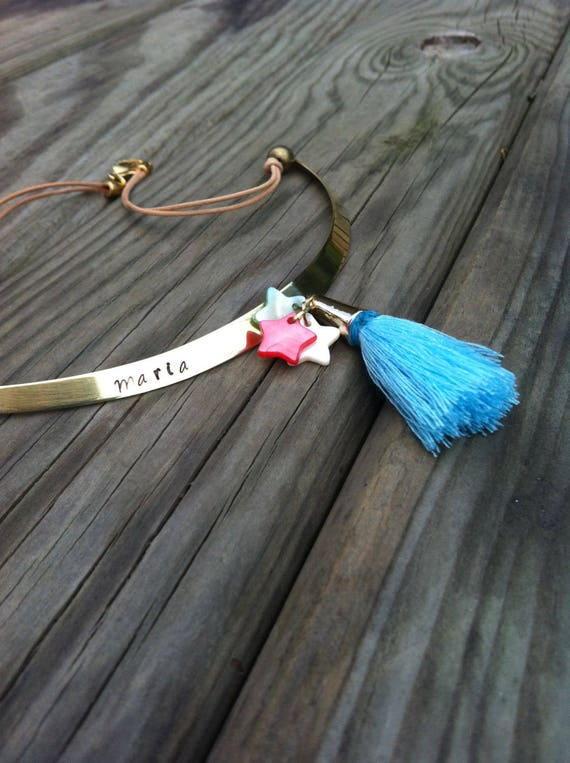 boho chic STIFF BRASS CHOKER necklace with blue turqoise tassel and nacre stars or hearts