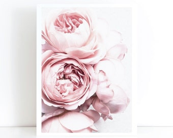 Peony Print Blush Pink Peony Print like the block Scandi Print Poster Flower Print the Block Unframed Print Poster Art Canvas - Scandinavian