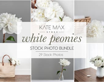 Simple White Peonies / Styled Stock Photos / 29 KateMaxStock Flower Branding Images for Your Business