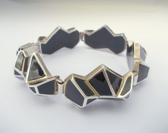 Black Quartz  BRACELET. Silver Art.