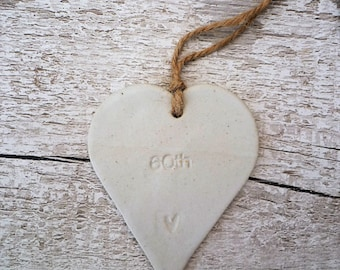 60th Birthday Loveheart ceramic Hanger, gift idea, stoneware pottery.