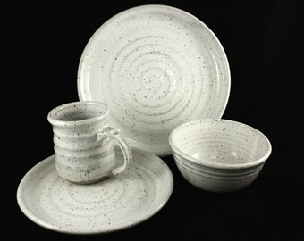 Handmade Stoneware Dish Set- Post White