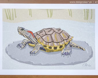 Red Eared Turtle (13 x 19)