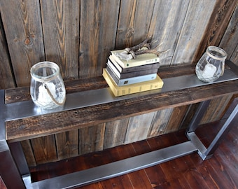 Rustic Handmade farmhouse style Reclaimed Wood & Steel Industrial Console Table a length of 120