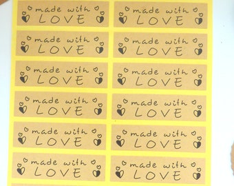 40 Brown Kraft Paper Long 'made with love' Stickers 5.5cm