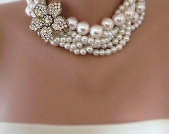 Bride Necklace,Bridal Pearl Statement Necklace   , rhinestone brooch,