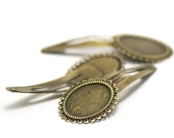 2 hair pins Bobby 25 x 18 mm cabochons, bronze