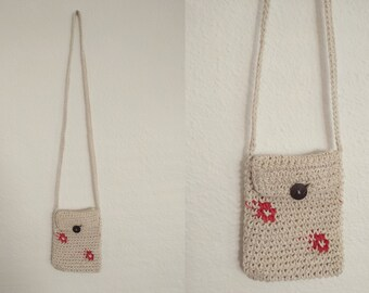 Knit Floral Crossbody Purse. Knit Crossbody Purse. Floral Crossbody Purse. Vintage Crossbody. Vintage Purse.