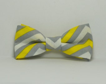 Yellow and Gray Chevron Boy's Bow Tie, Wedding Bowtie, Children's Bow Tie, Ring Bearer Outfit, Toddler, Baby, Teen
