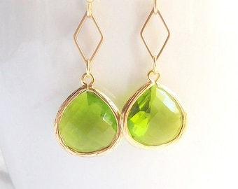Olive Earrings, Green Earrings In Gold, Green Bridesmaid Earrings, Everyday Earrings, Delicate Earrings, Wedding Gifts, For Her Women