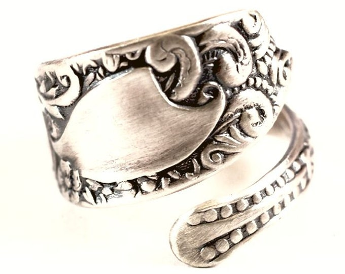 Small Floral Victorian Ring, Sterling Silver Spoon Ring, Wallace Bessie 1894, Petite Silver Ring, Gift for Her, Adjustable Ring Size (5871)