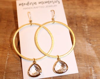 Gold Hoop Earrings with Crystal Pendant | Crystal Hoop Earrings, Hoop Earrings