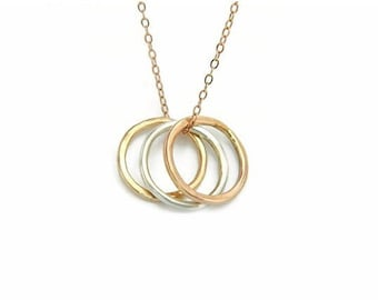 Circle Necklace, 14K Gold Necklace, Karma Necklace, 14K Rose Gold Necklace, Friendship Necklace, Gold Charm Necklace, Minimal Necklace