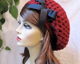 Crochet Red Woman Hat, Beret, Slouchy, Holiday gifts, Black Ribbon, Chunky, Warm, Teens, Winter, City Hat, Birthday Gifts for Her, JE467BTR