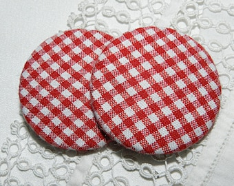 Button in red gingham, 40 mm / 1.57 in