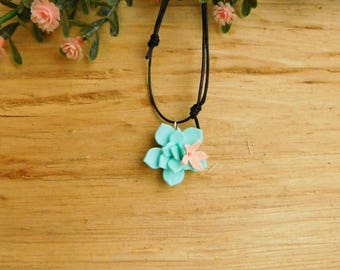 Succulent jewelry Choker necklace Bridesmaid gift Floral Blue jewelry Nature Gift|for|her Summer jewelry Flower necklace gift|for|girlfriend