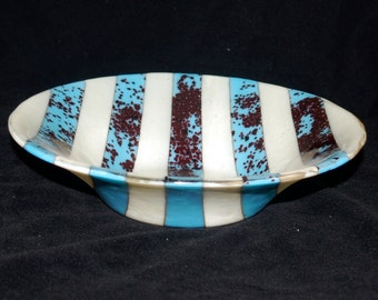 Fused Glass Striped Turquoise Bowl