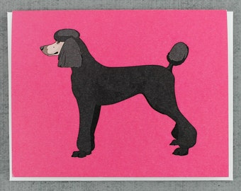 Black Standard Poodle Dog Note Card Stationery