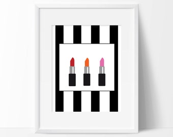 Lipsticks Art Print - Vanity Decor - Makeup Decor - Dorm Decor -  Beautician Art