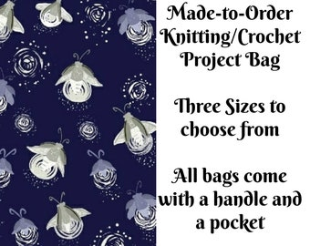 Fireflies - Purple, Knitting Project Bag, Large Project Bag, Drawstring, Zippered, Sock Sack, Yarn Tote, Sock Project