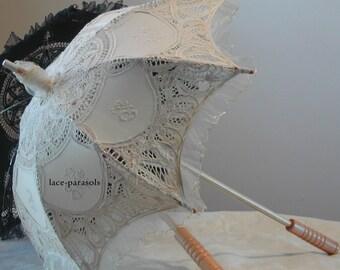 SMALL Beige Lace Parasol w/Organza Lace