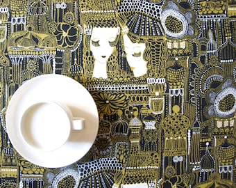 Tablecloth mustard yellow black white abstract modern decor Scandinavian Design , also napkins , runner , curtains available , great GIFT