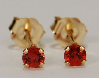 Orange Sapphire Earrings~14 KT Yellow Gold~3mm Round Cut~Genuine Natural Mined