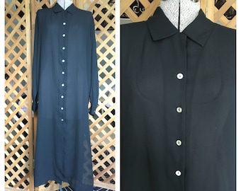Vintage Womens 1990s Sheer Chiffon Long Black Shirt Dress Button Up Goth Deathrock Oversize Medium by Espirit