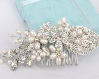 Anna-Freshwater pearl and Rhinestone Bridal Comb