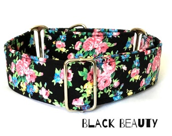 Black Floral Martingale Dog  Collar , Country Roses, Greyhound Collar , Whippet Collar , Lurcher Collar , Sighthound Collar Large Breed