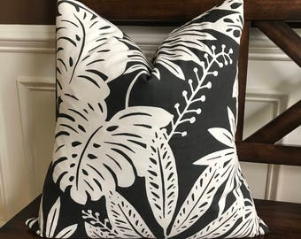 Black and White Tropical Cotton Pillow Cover