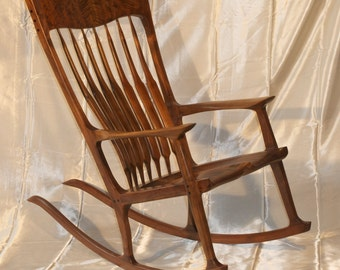 Maloof Style Rocking Chair.  Shaped by hand out of walnut, curly walnut and ebony.