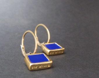 Reversible Enamel and Vermeil Earrings in Dark Green and Cobalt - Gold plated earrings - Cobalt Blue Earrings