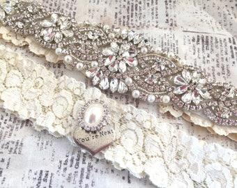 Lace Wedding Garter, Ivory Lace Wedding Garter, You're Next Tossing Garter, Non-Slip Grip, Bridal Wedding Garters, Bridal Garter Set