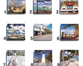 Set of 4 Key West Stone Drink Coasters with Original Photography - 9 images to choose from.