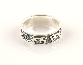 Size 12 Sterling Silver Textured Lizard Band Ring