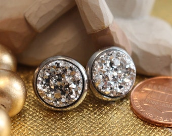 Sparkly 12mm silver faux druzy (druse) earrings set in stainless steel~ Titanium posts available ~ Bridesmaids gift idea!