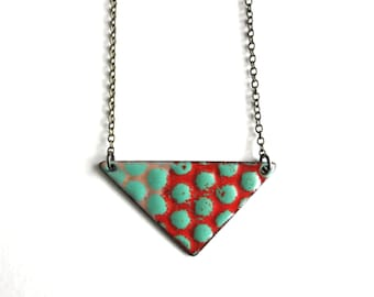 Red Triangle Enamel Necklace