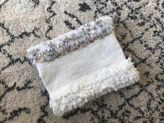 White Handira Moroccan Wedding Blanket Large Foldover Clutch Bag Boho Coachella Silver Sequins Embellished